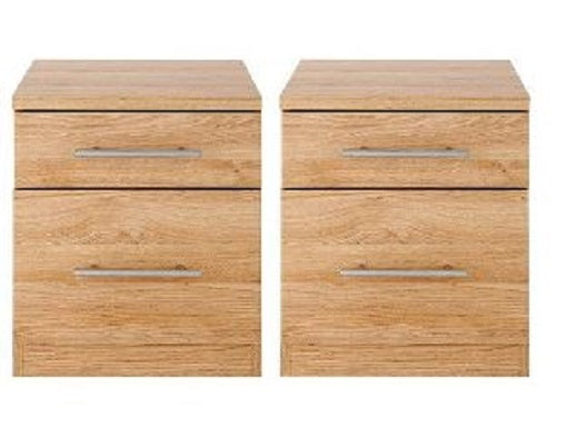 Pair Of Prague 2 Drawer Bedside Tables Oak FREE UK Mainland Shipping - The Catalogue Outlet