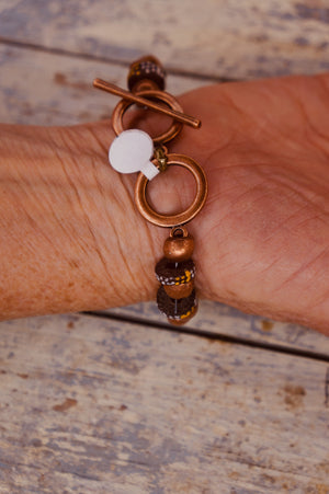 Copper and Brown Bead Bracelet