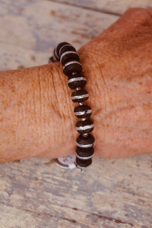 Black and Silver African Bead Bracelet