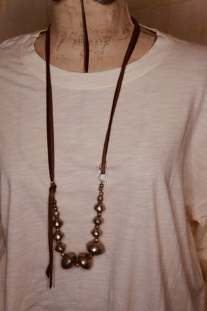 Large Silver Colored African Bead Necklace