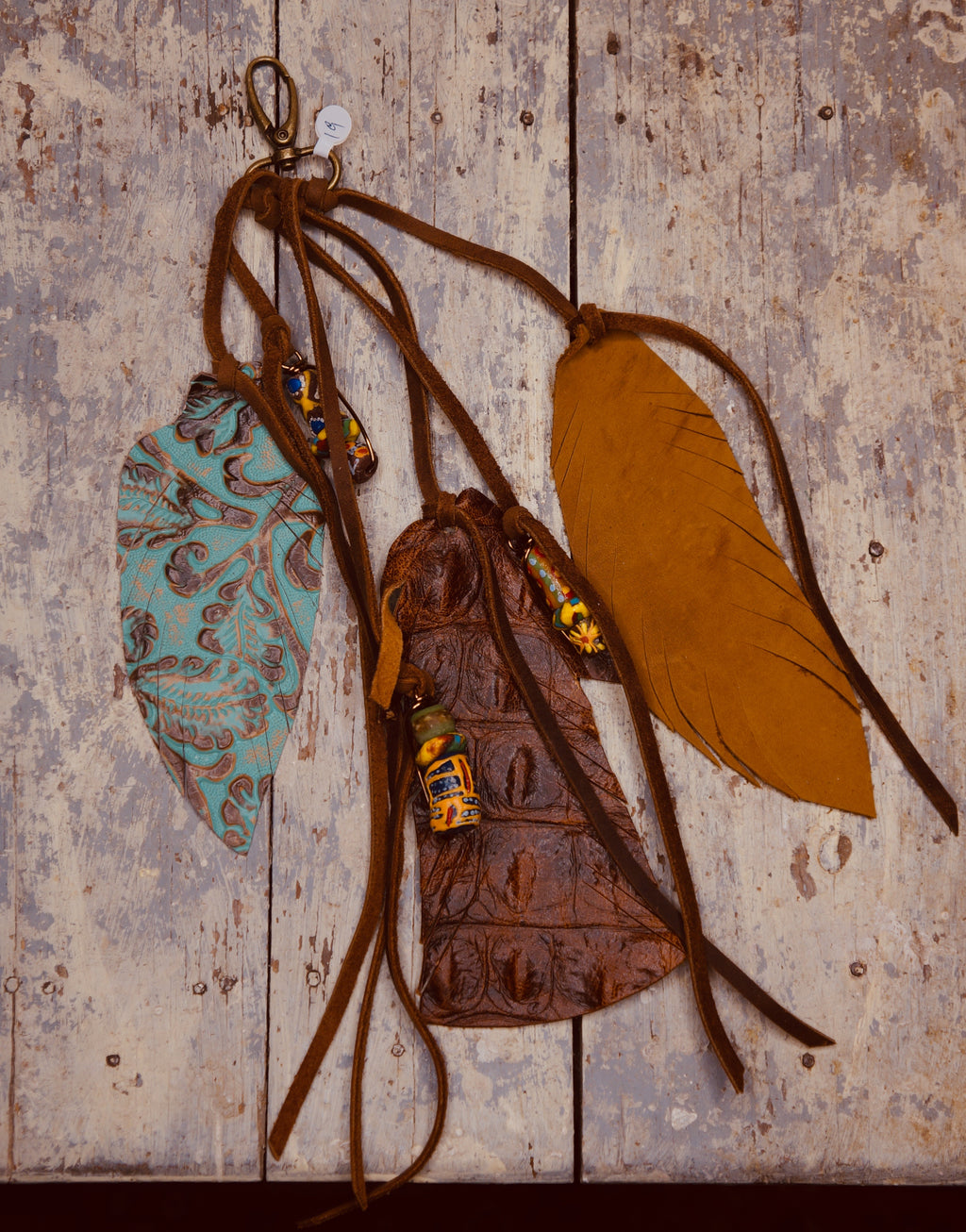 Leather Purse Feathers