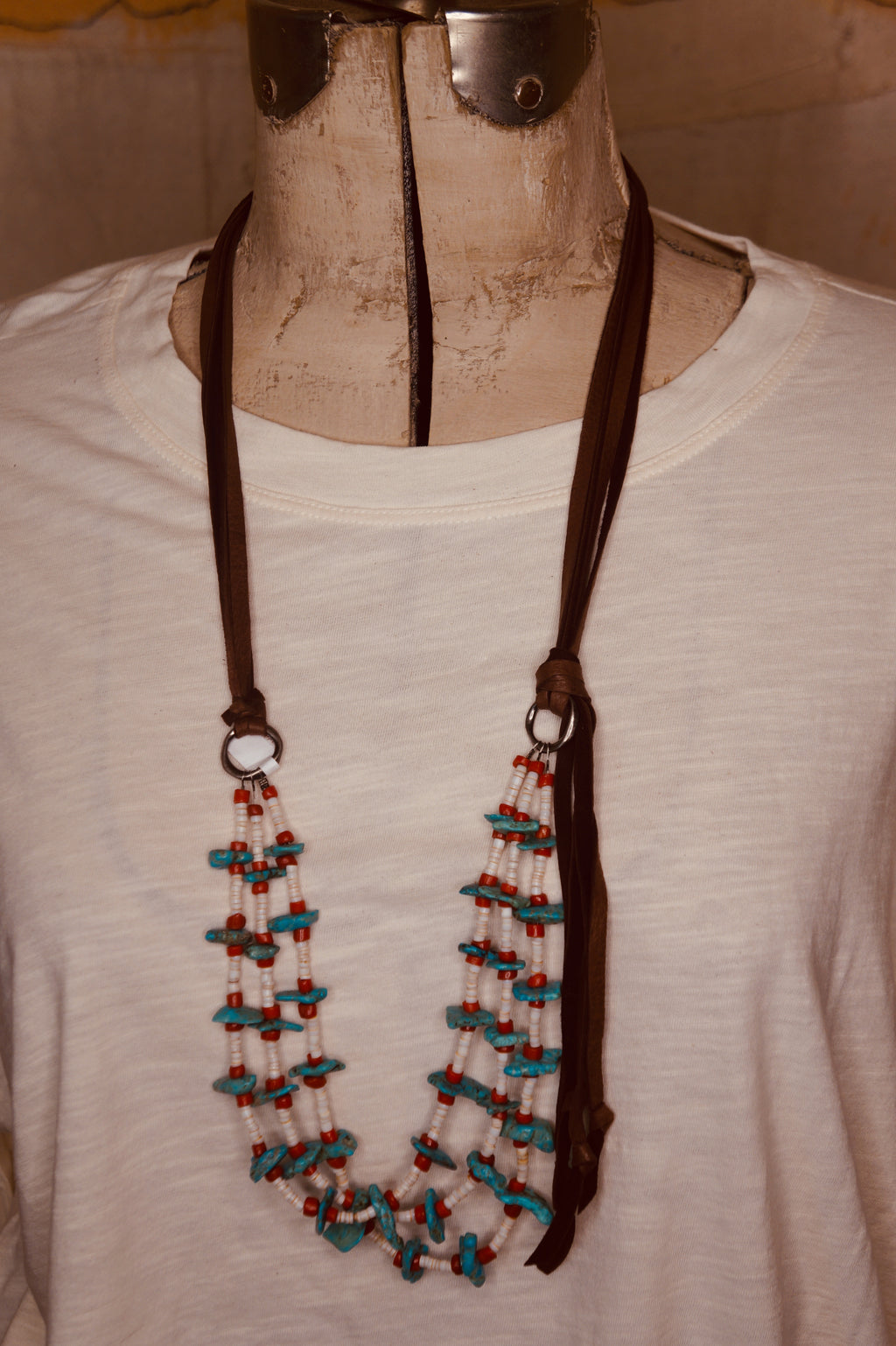 SOLD Coral and Turquoise Three Strand Necklace