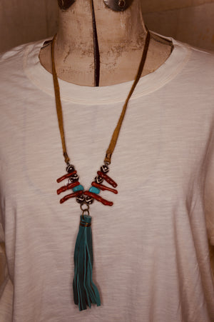Coral and Turquoise Bead Necklace with Turquoise Tassel
