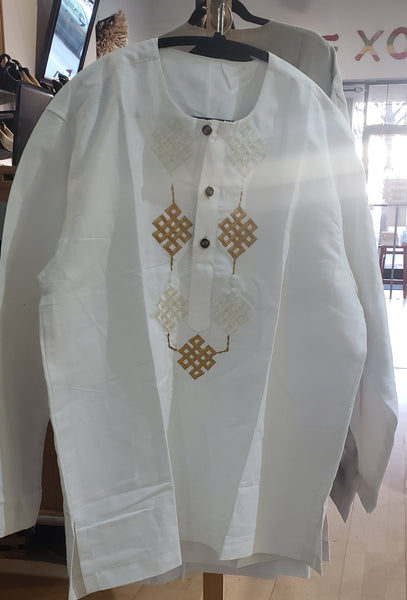 White and Gold Long Sleeve DASHIKI