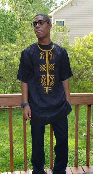 Short Sleeved Gold Embroidered Black Shirt