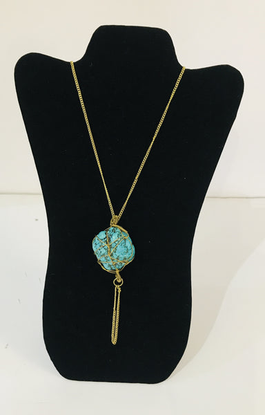 Brass & Raw Turquoise Necklace
