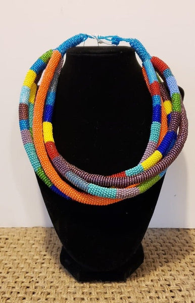 Multi-Colored Beaded Tube Necklace