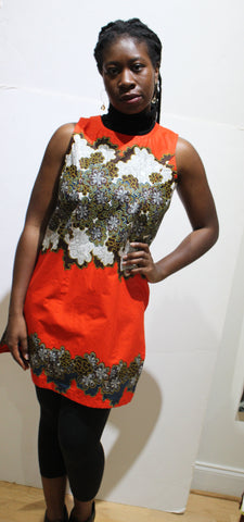 Orange African Print Sleeveless Blouse