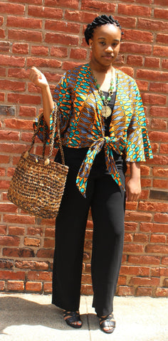 Wrap Blouse Orange and Teal patterned stripes
