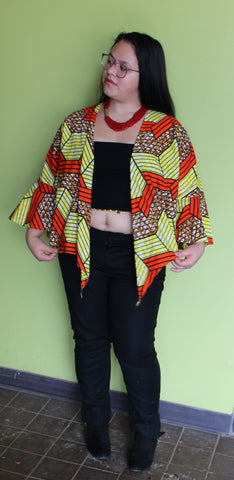 Wrap Blouse Red and Yellow