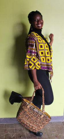 Wrap blouse Yellow and Purple