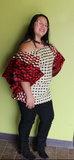 Butterfly blouse Red and Tan