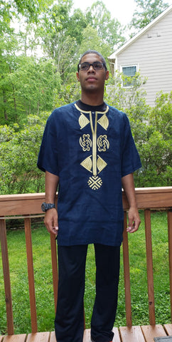 Short Sleeved Gold Embroidered Dark Blue Shirt