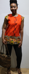 Orange African Print Short Sleeve Blouse