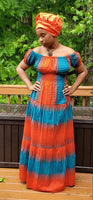 Orange & Blue Off The Shoulder Maxi Dress