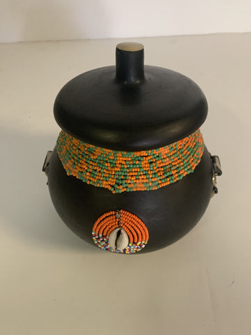 Beaded Black Clay Pot With Lid