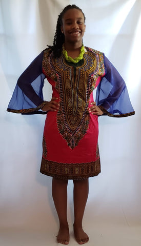 Red Dashiki Dress With Blue Sheer Flare Sleeves