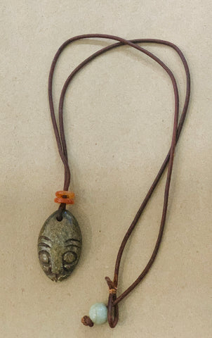 African Mask Stone Necklace