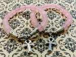 Men's Rose Quartz Ankh Bracelet