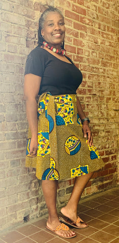 African Print Short Wrap Skirt