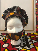 Brown BONNET & MASK SET