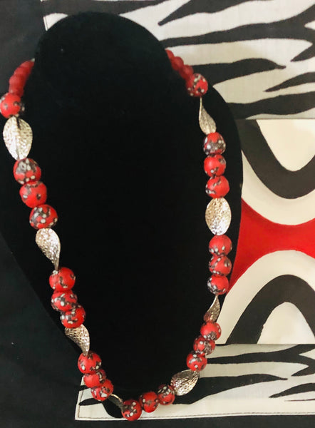 Red white beads with silver