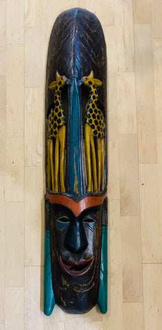 Long Wooden Face and Animal Mask