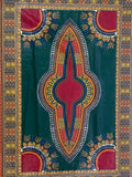 Green and Maroon Dashiki Fabric