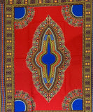 Red and Blue Dashiki Fabric