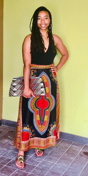Long Dashiki Wrap Skirt