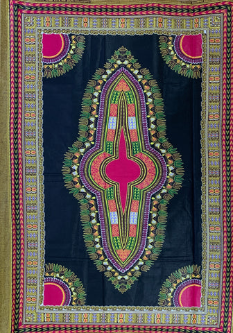 Black and Pink Dashiki Fabric