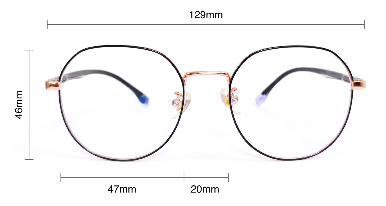 Expression eyewear size measurements guide - SaferOptics Anti Blue Light glasses polygon hexagon