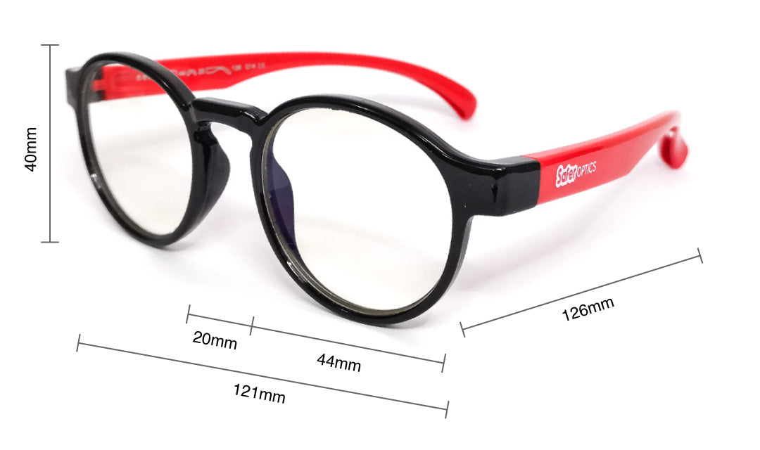 Kids Round Anti Blue Light Glasses Size Guide