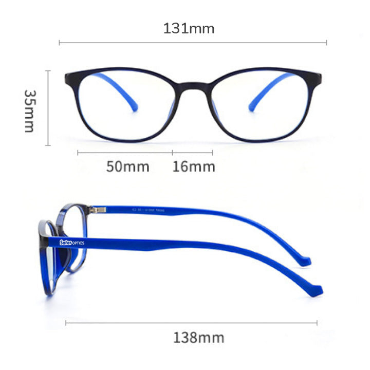 SaferOptics anti blue light glasses size measurements