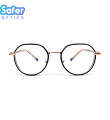 Element - Black Rose Gold - SaferOptics Anti Blue Light Glasses Malaysia | Adult, Big, Black, Customize, Empower, Hexagon, new