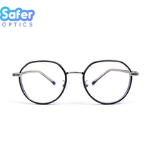 Element - Black Silver - SaferOptics Anti Blue Light Glasses Malaysia | Adult, Big, Black, Customize, Empower, Hexagon, new, Small