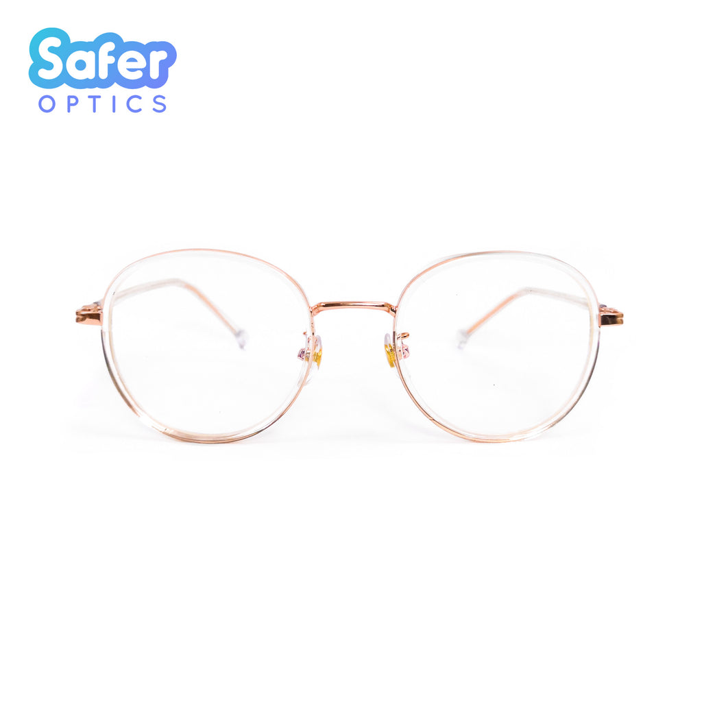 Empower - Clear Rose Gold - SaferOptics Anti Blue Light Glasses Malaysia | Adult, Customize, Empower, new, Rose Gold, Round