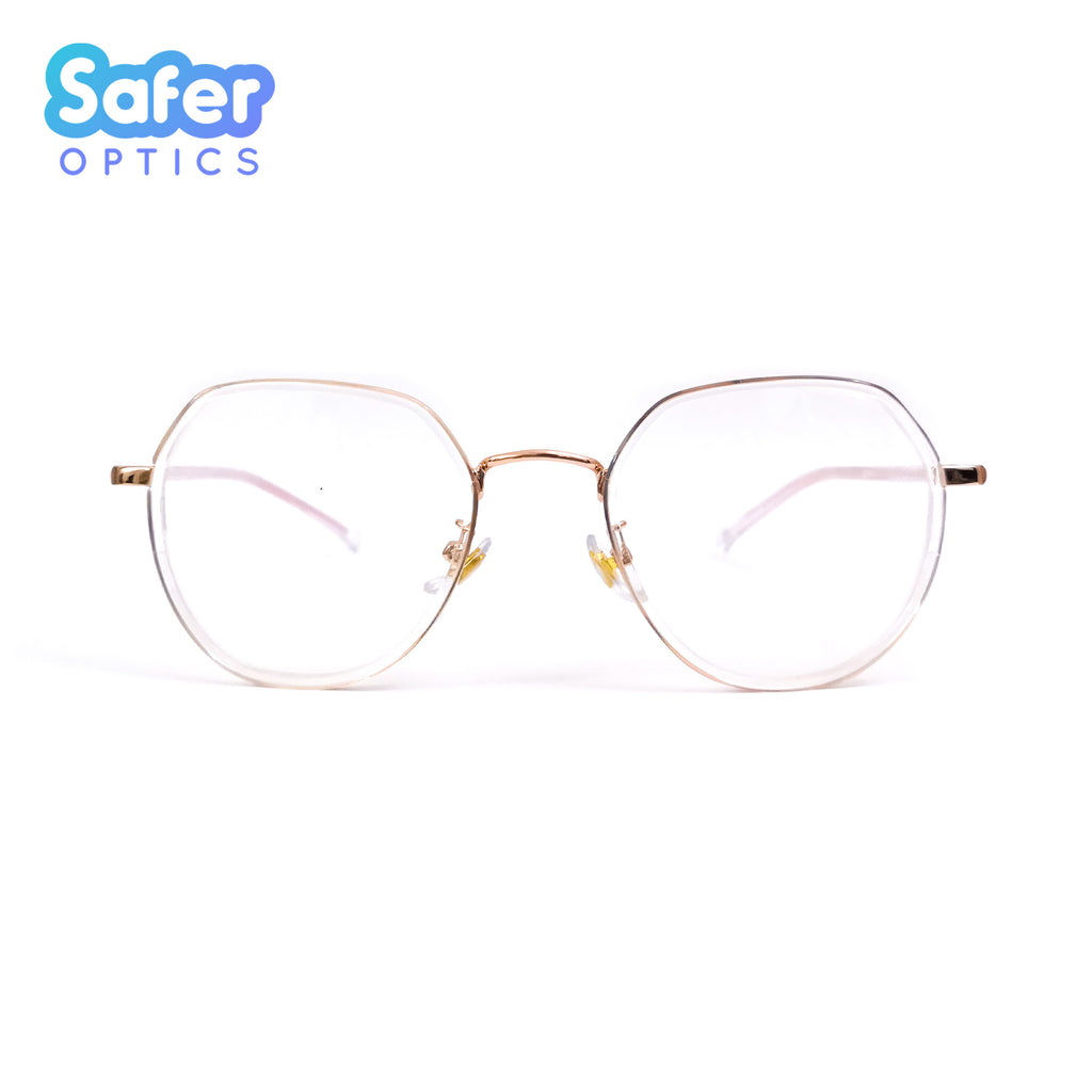 Enlighten - Clear Rose Gold - SaferOptics Anti Blue Light Glasses Malaysia | Adult, Customize, Empower, Hexagon, Medium, new, Rose Gold