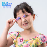 Kids Flex - Cotton Candy - SaferOptics Anti Blue Light Glasses Malaysia | 420Safety, Flex, Kids, Oval, Pink, Small