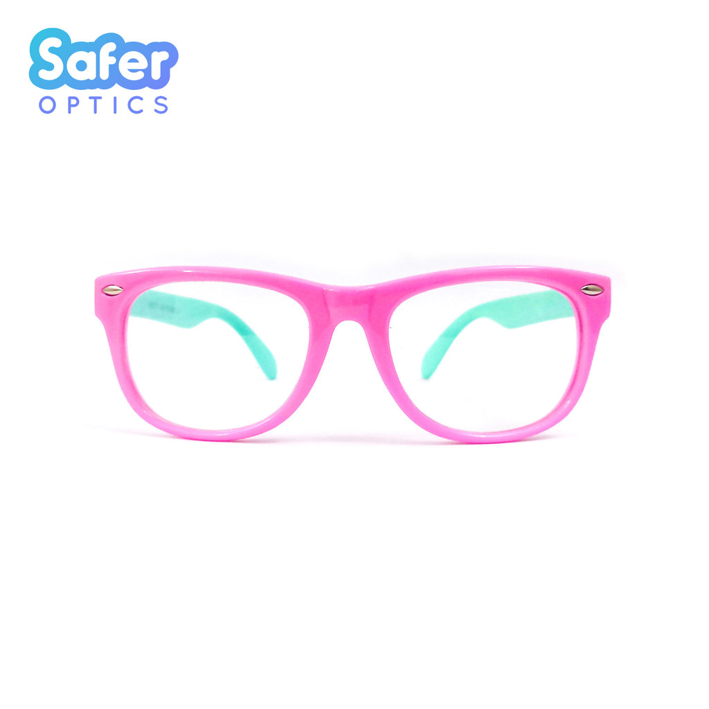Kids Mini Wayfarer - Bubble Gum - SaferOptics Anti Blue Light Glasses Malaysia | 420Safety, Kids, new, Pink, Small, Square, Wayfarer