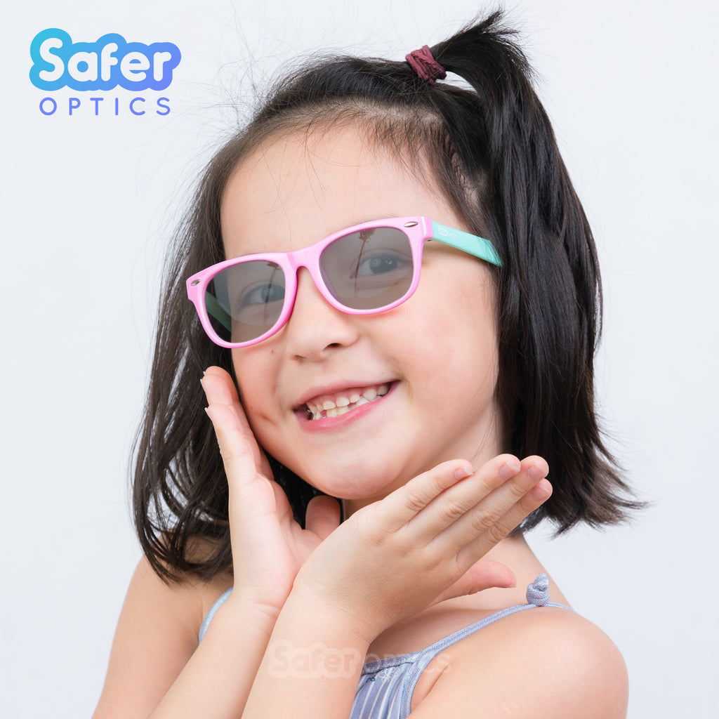 Kids Mini Wayfarer Sunglasses - Bubble Gum - SaferOptics Anti Blue Light Glasses Malaysia | 420Safety, Kids, Medium, new, Pink, Square, Sunglasses, Wayfarer