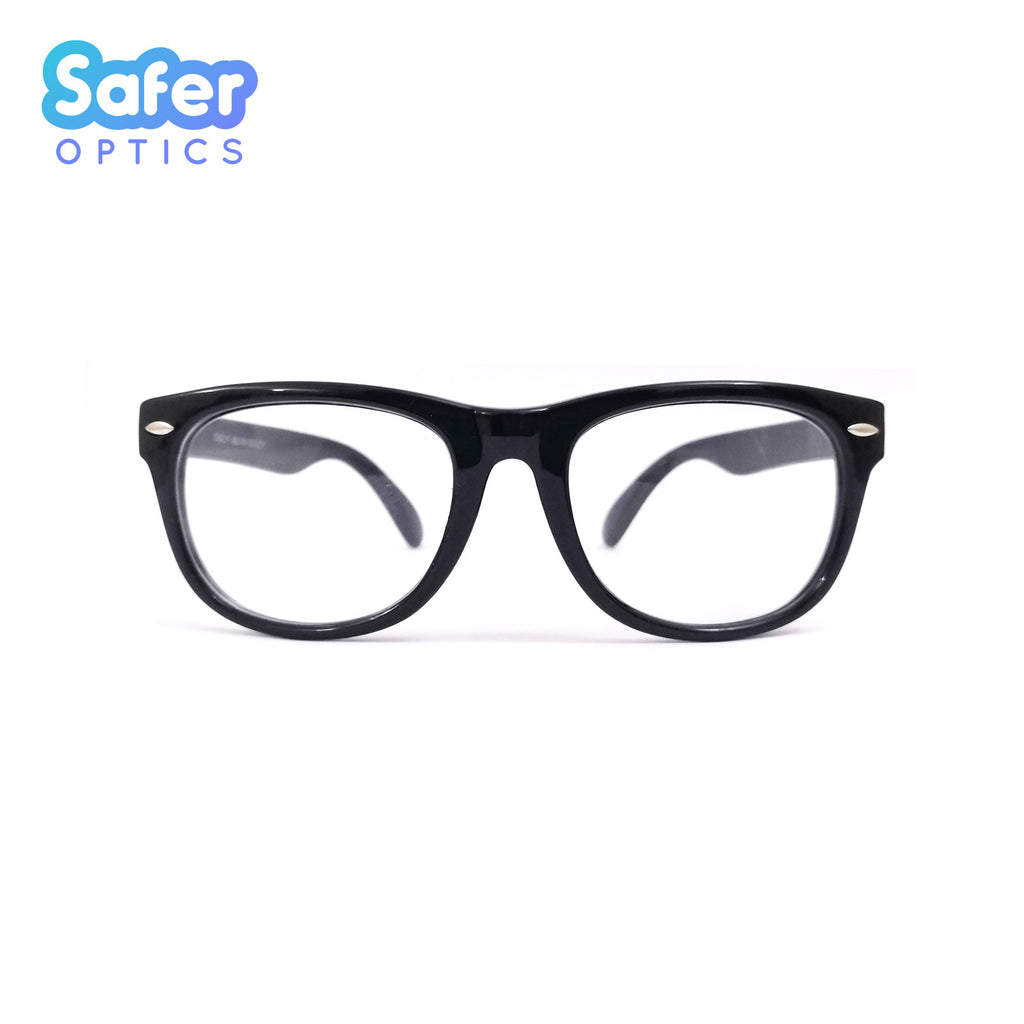 Kids Mini Wayfarer - Licorice - SaferOptics Anti Blue Light Glasses Malaysia | 420Safety, Black, Kids, Medium, new, Square, Wayfarer
