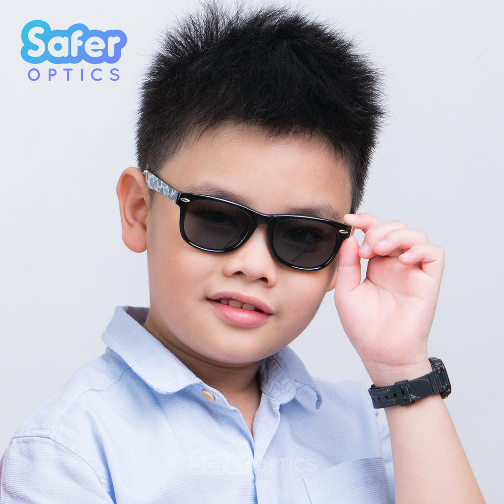 Kids Mini Wayfarer Sunglasses - Black (Limited Edition) - SaferOptics Anti Blue Light Glasses Malaysia | Black, bogo50, Kids, Medium, new, Square, Sunglasses, Wayfarer