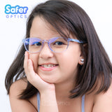 Pioneer - Ice Blue - SaferOptics Anti Blue Light Glasses Malaysia | Adult, Big, Blue, Customize, Medium, Pioneer, Small, Square, White