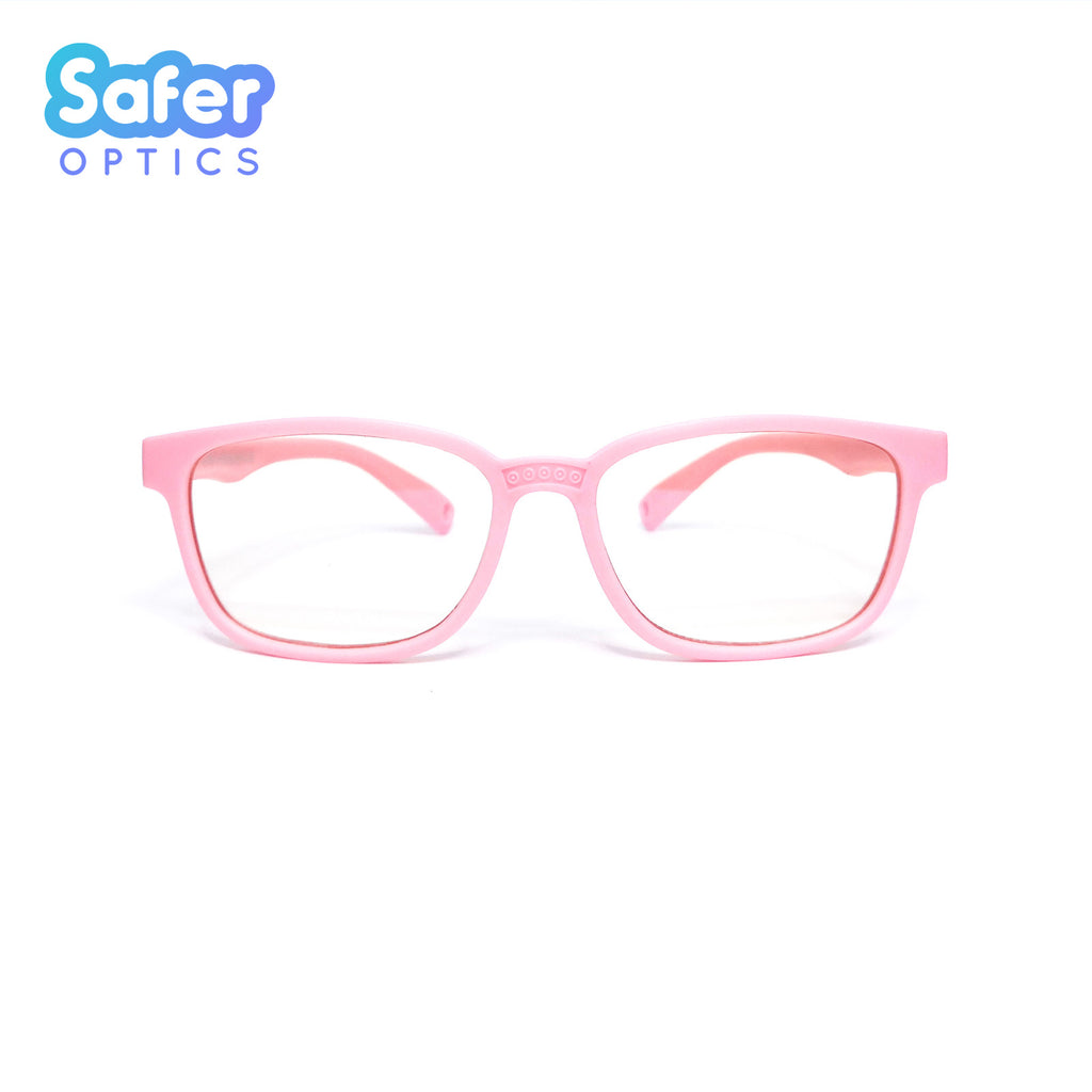 Kids Rectangle - Cotton Candy - SaferOptics Anti Blue Light Glasses Malaysia | 420Safety, Kids, Pink, preorder, Rectangle, Small
