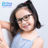 Kids Rectangle - Licorice - SaferOptics Anti Blue Light Glasses Malaysia | 420Safety, Black, Kids, last, Rectangle, Small