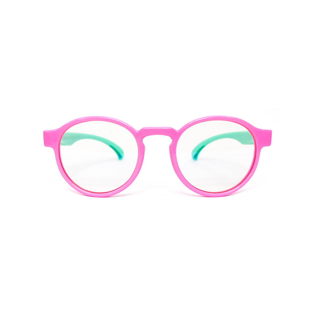 Kids Round - Bubble Gum - SaferOptics Anti Blue Light Glasses Malaysia | 420Safety, Kids, Pink, Round, Small