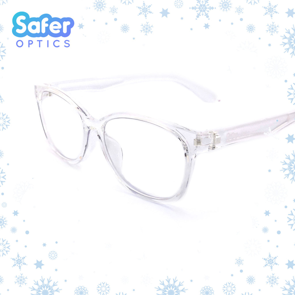 Kids Square - Crystal Clear (Preorder) - SaferOptics Anti Blue Light Glasses Malaysia | 420Safety, Kids, new, preorder, Small, Square