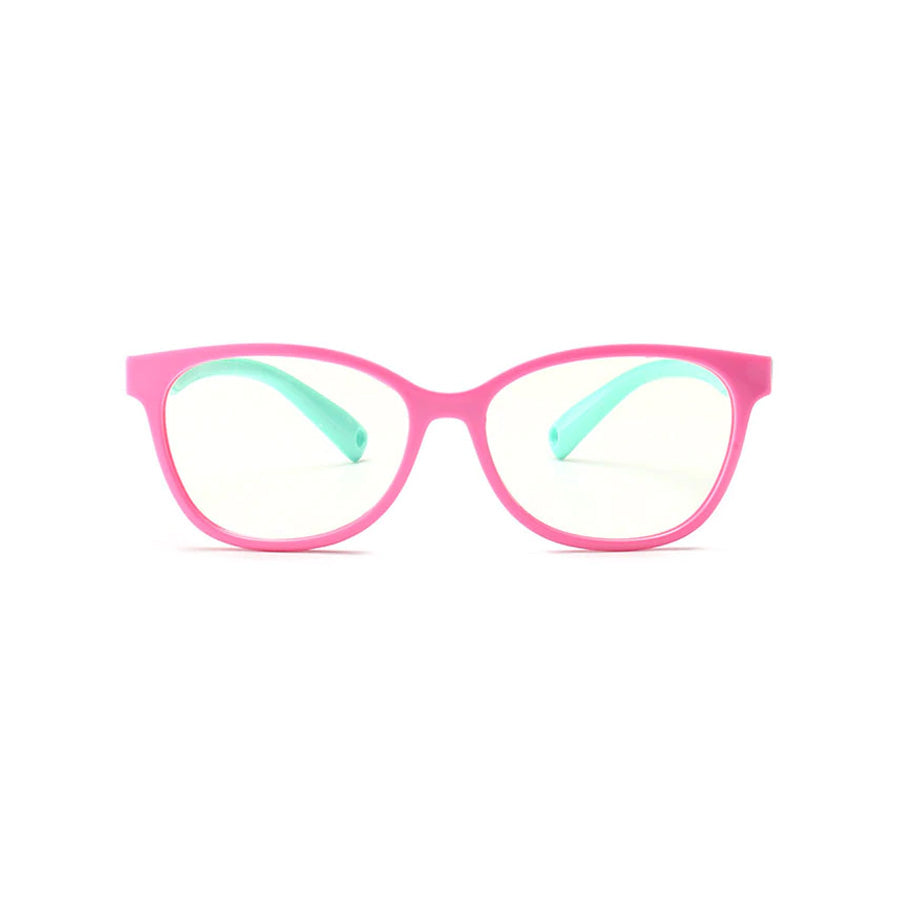 Kids Square - Bubble Gum - SaferOptics Anti Blue Light Glasses Malaysia | 420Safety, Big, Kids, Pink, Square