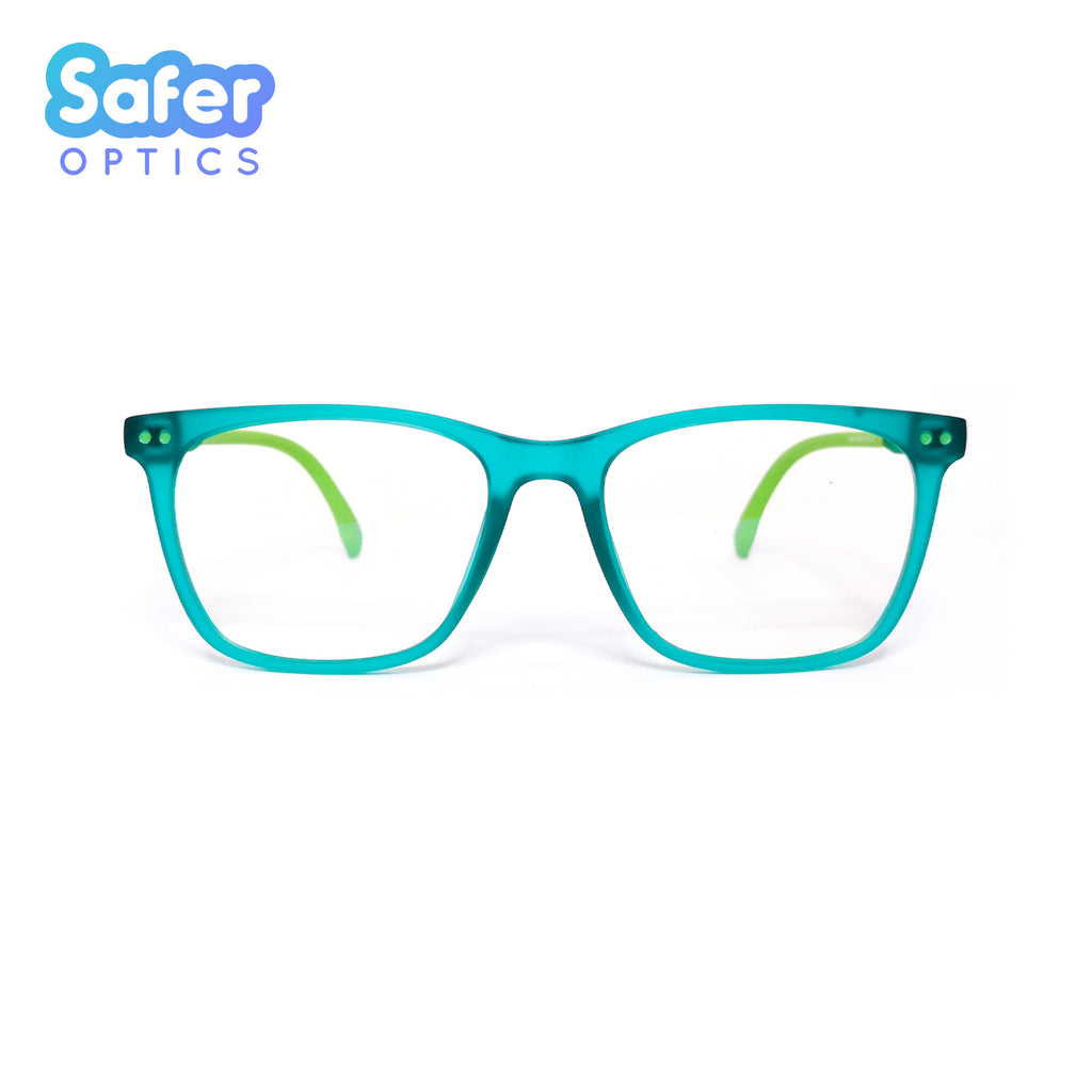 Kids T-Square - Green Gummy - SaferOptics Anti Blue Light Glasses Malaysia | 420Safety, Green, Kids, new, Small, Square
